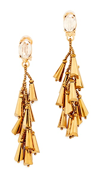 Oscar de la Renta Multi Cone Clip On Earrings - Gold