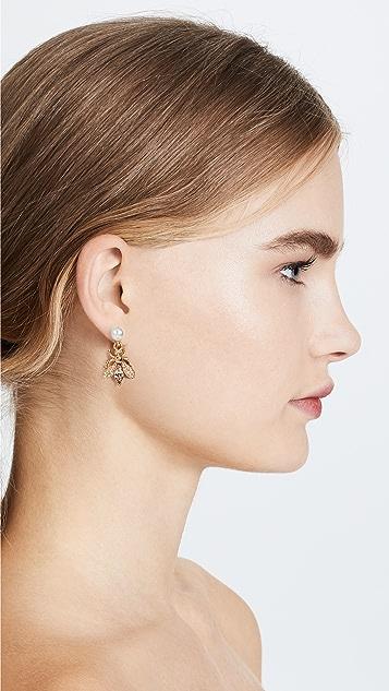 Oscar de la Renta Bug Button Earrings