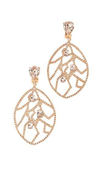 Oscar de la Renta Crystal Fern Wrap Clip On Earrings In Gold