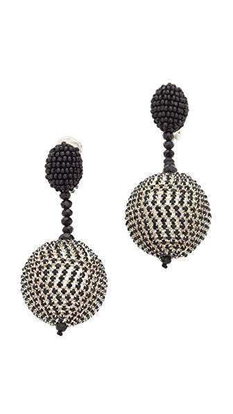 Oscar de la Renta Beaded Drop Clip On Earrings
