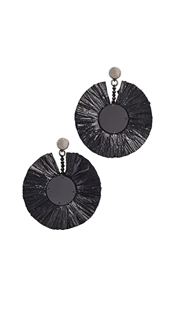 Oscar de la Renta Small Raffia Disk Earrings