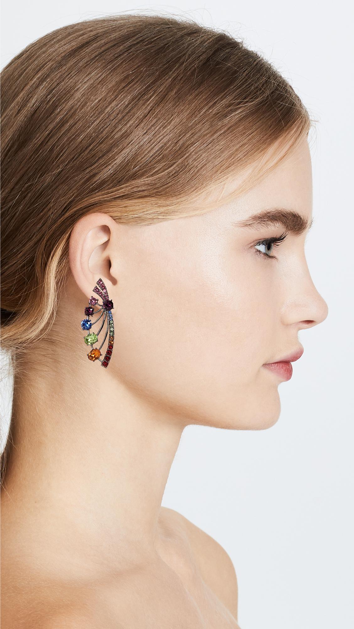 8ecbad52a Oscar de la Renta Crystal Fan Earrings | SHOPBOP