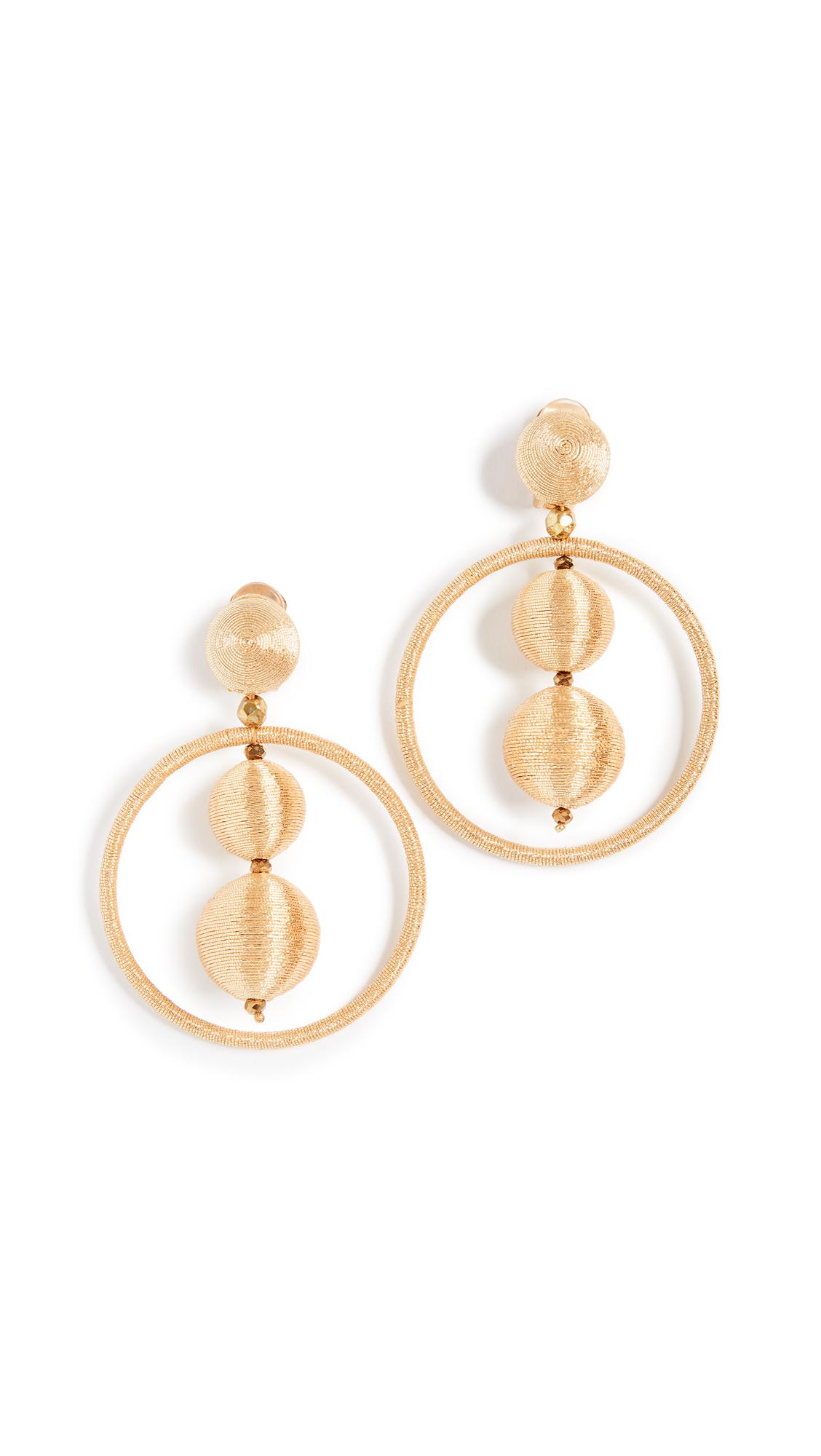 Oscar de la Renta Double Beaded Ball Hoop Clip On Earrings In Gold