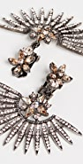 Oscar de la Renta Pave Point Fan Earrings