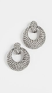 Oscar de la Renta Pave Knock Hoop Earrings