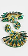 Oscar de la Renta Mixed Bead & Crystal Fan Earrings