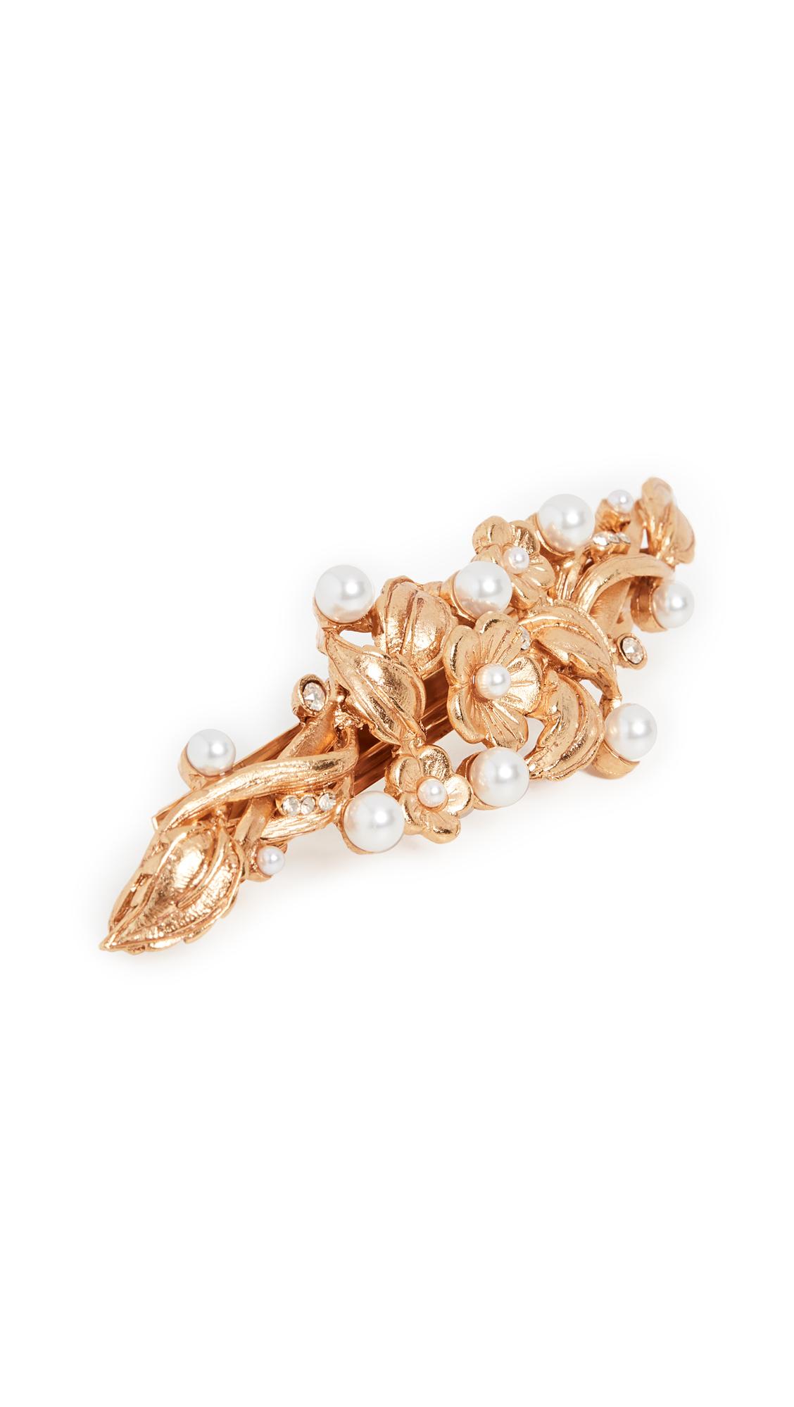 Oscar De La Renta Painted Flower & Imitation Pearl Hair Clip In Gold