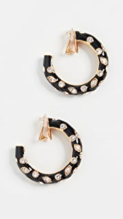 Oscar de la Renta Large Metal Hoops with Crystals