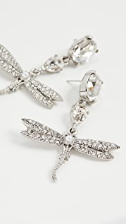Oscar de la Renta Crystal & Pave Dragonfly Drop Earrings