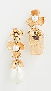 Oscar de la Renta Quartz Crystal & Swarovski Pearl Flower Earrings