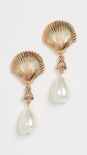 Oscar de la Renta 扇贝和人造珍珠耳环