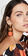 Oscar de la Renta Raffia & Wood Ball Earrings