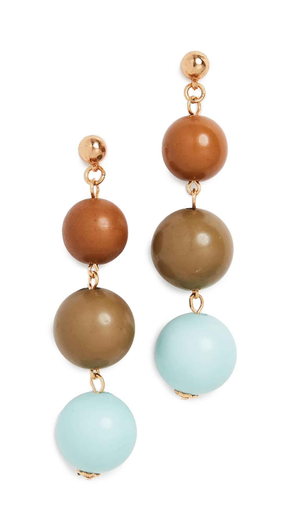 Oscar De La Renta Jewelry SMALL ENAMEL BALL DROP EARRINGS