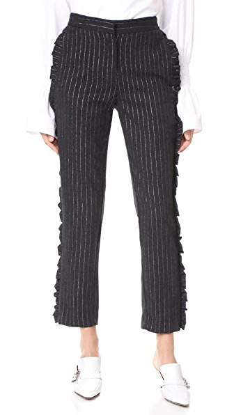 Otto d'ame Valley Pinstripe Trousers In Anthracite