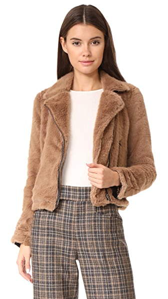 Otto d'ame Ashley Faux Fur Moto Jacket In Nocciola