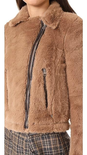 Otto d'ame Ashley Faux Fur Moto Jacket