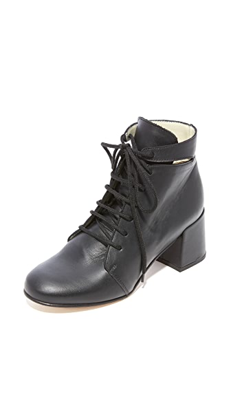 Ouigal Fay Lace Up Booties In Black