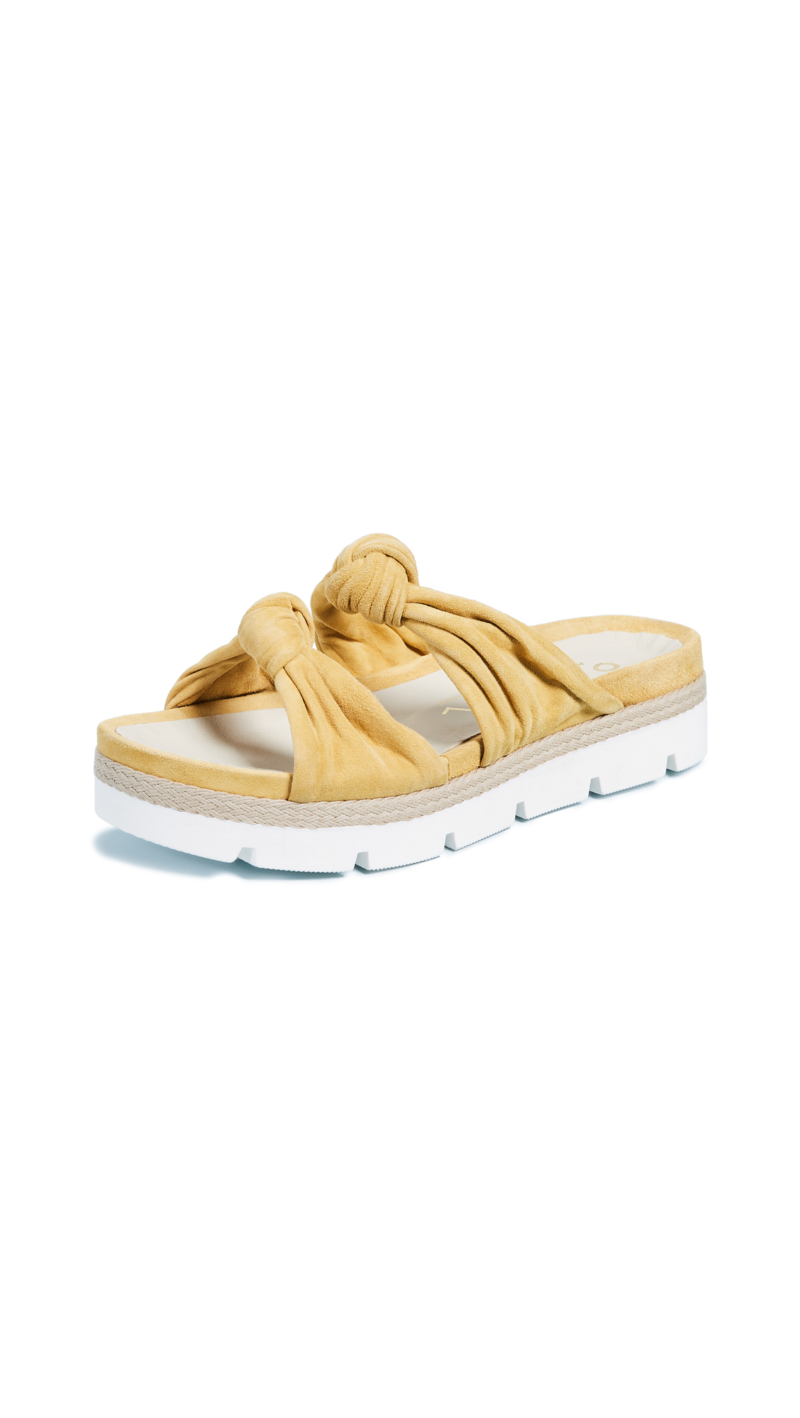 Ouigal Tessa Knotted Slides - Yellow