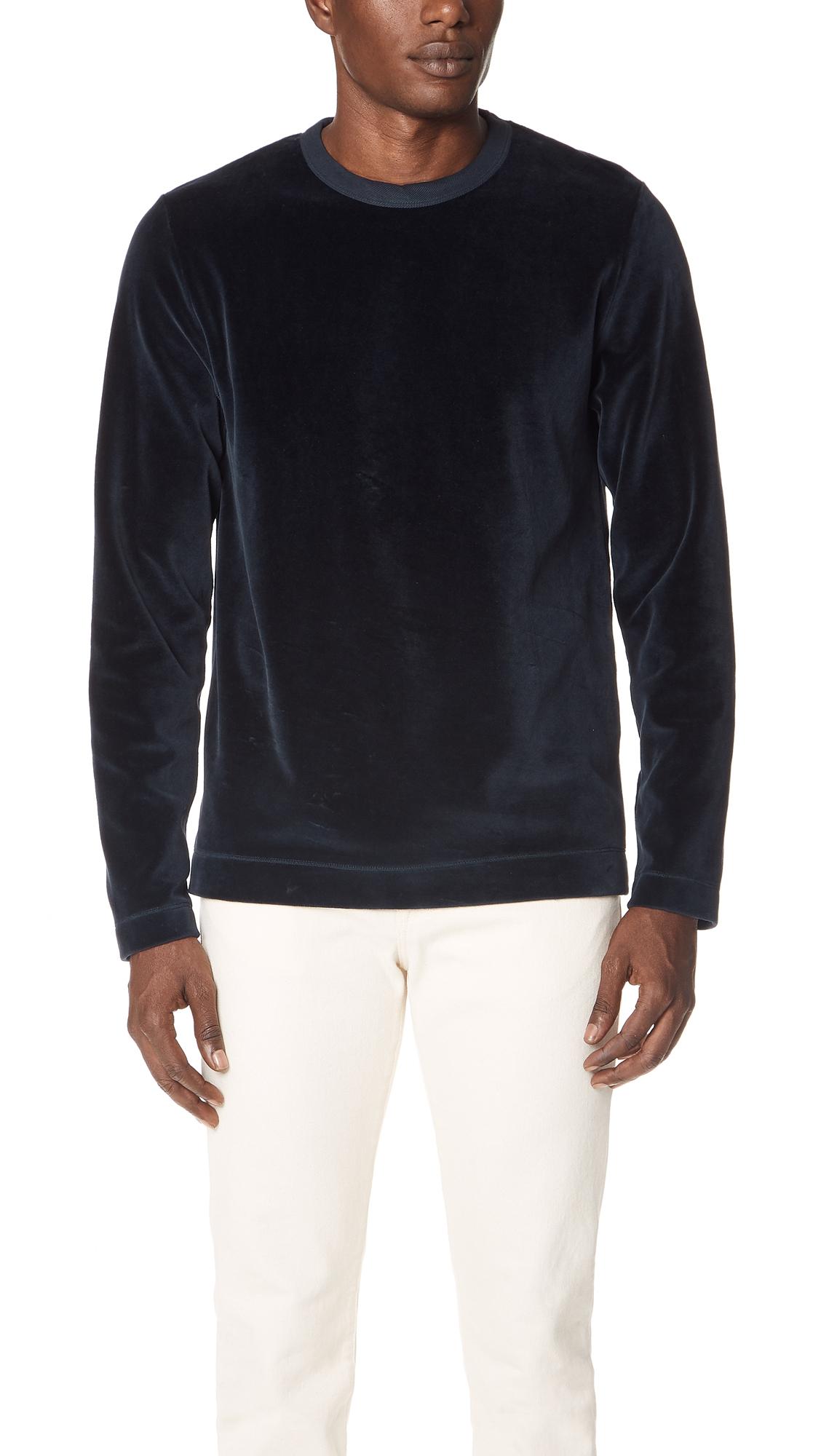 Velour Long-Sleeved T-Shirt in Navy