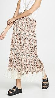 Paco Rabanne 蕾丝饰边花卉半身裙
