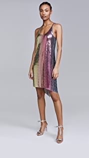Paco Rabanne Rainbow Mesh Mini Dress
