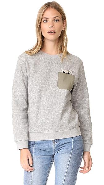 Paul & Joe Sister Sweetcat Sweatshirt In Gris Chine