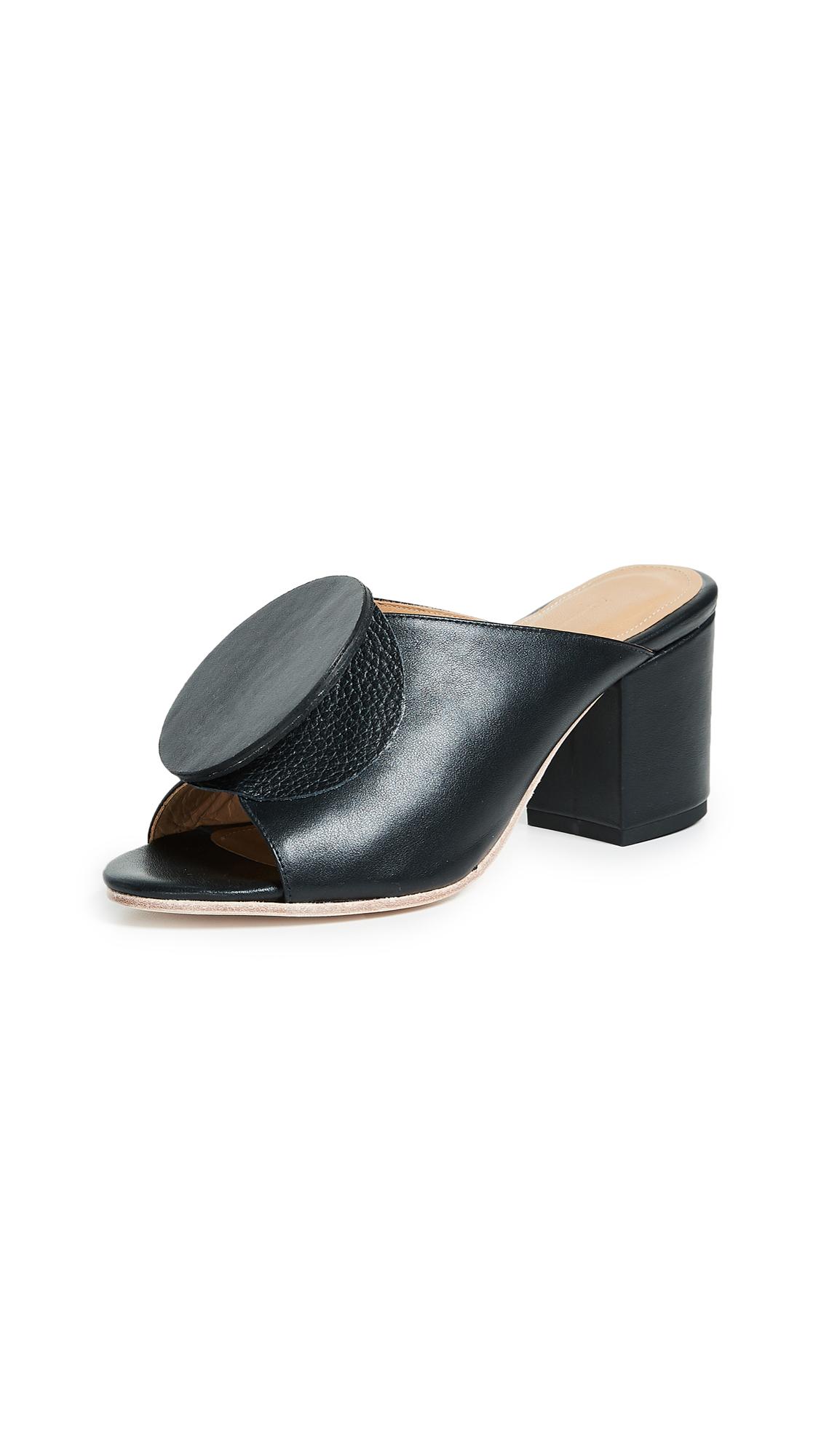 The Palatines Salio Origami Mules - Black/Black