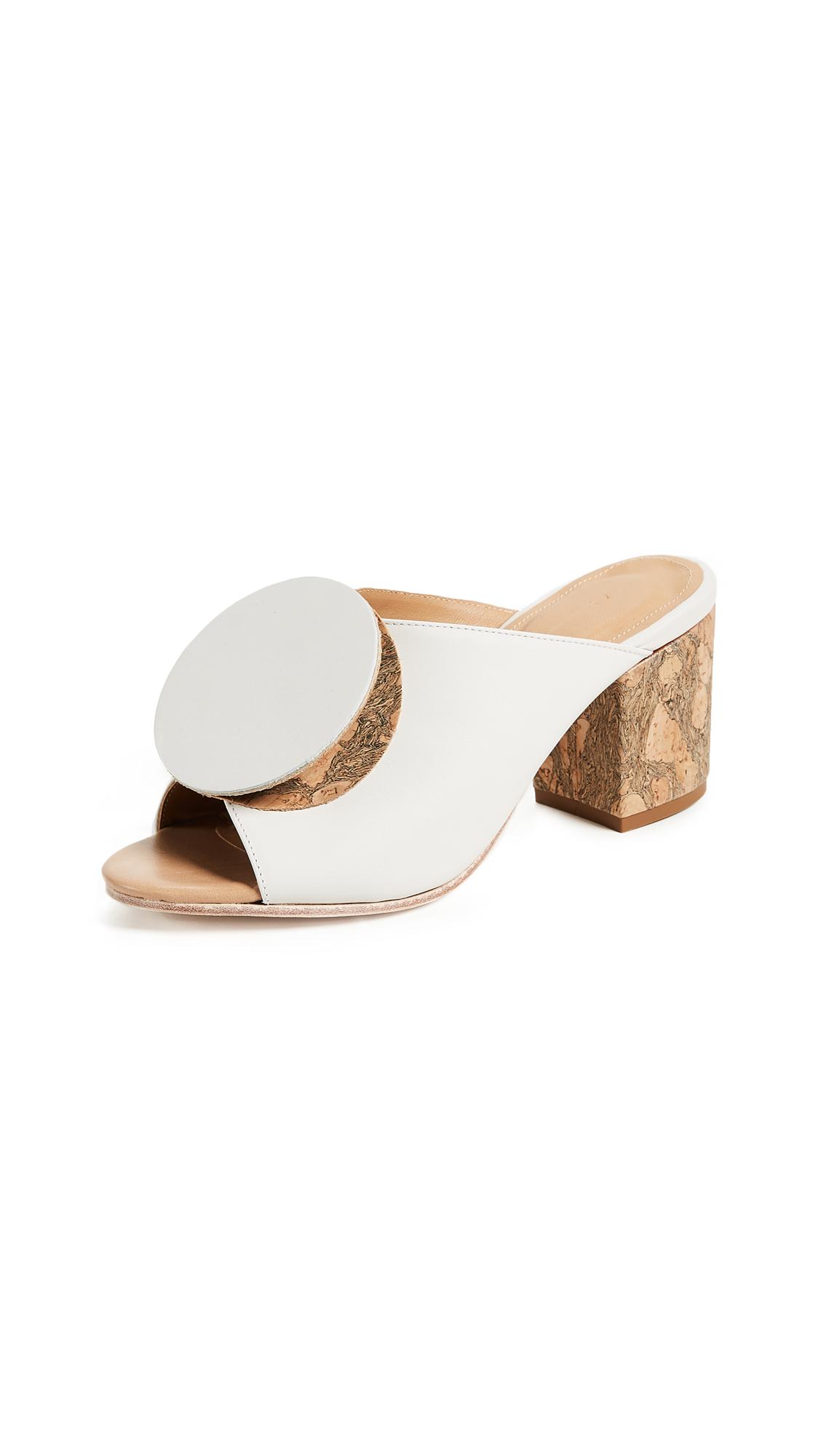 The Palatines Salio Origami Mules - White/Cork