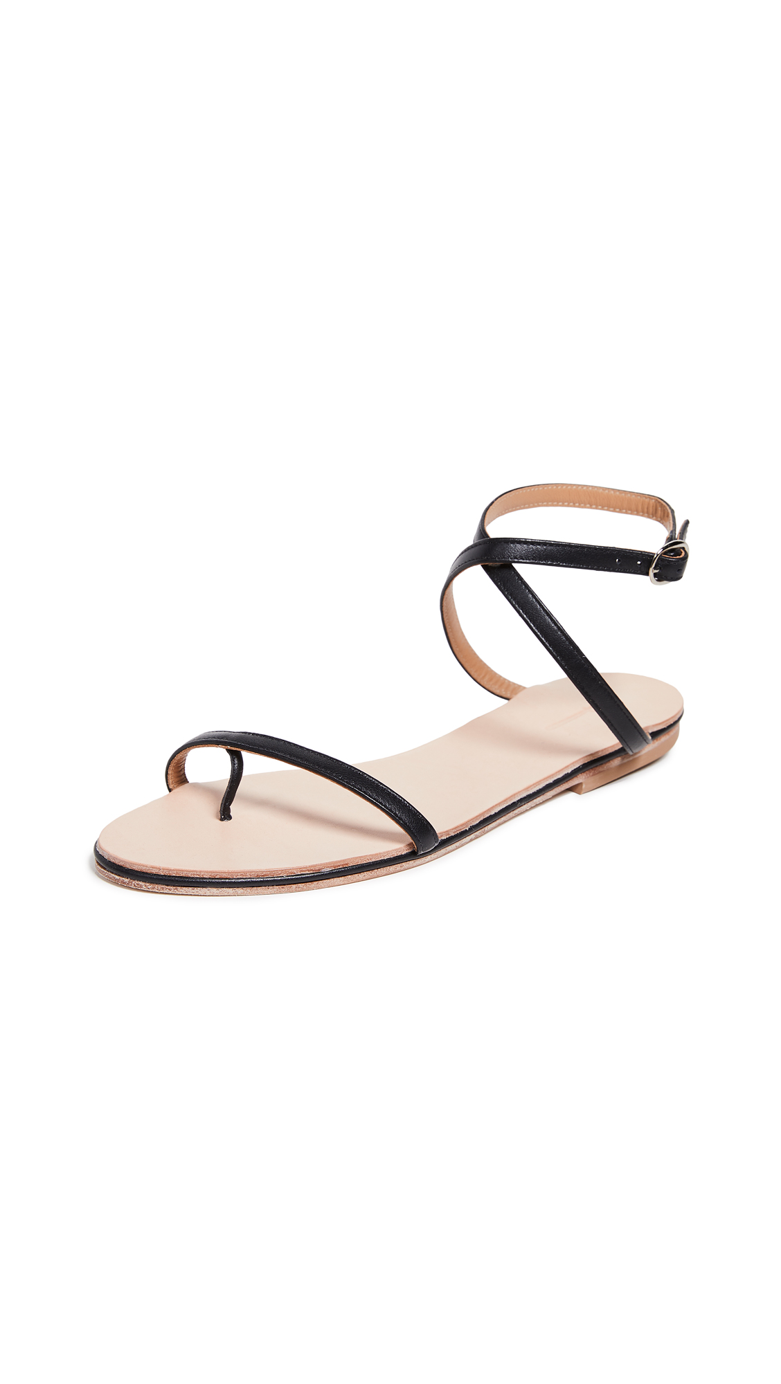 THE PALATINES Calide X Strap Sandals in Black/Natural