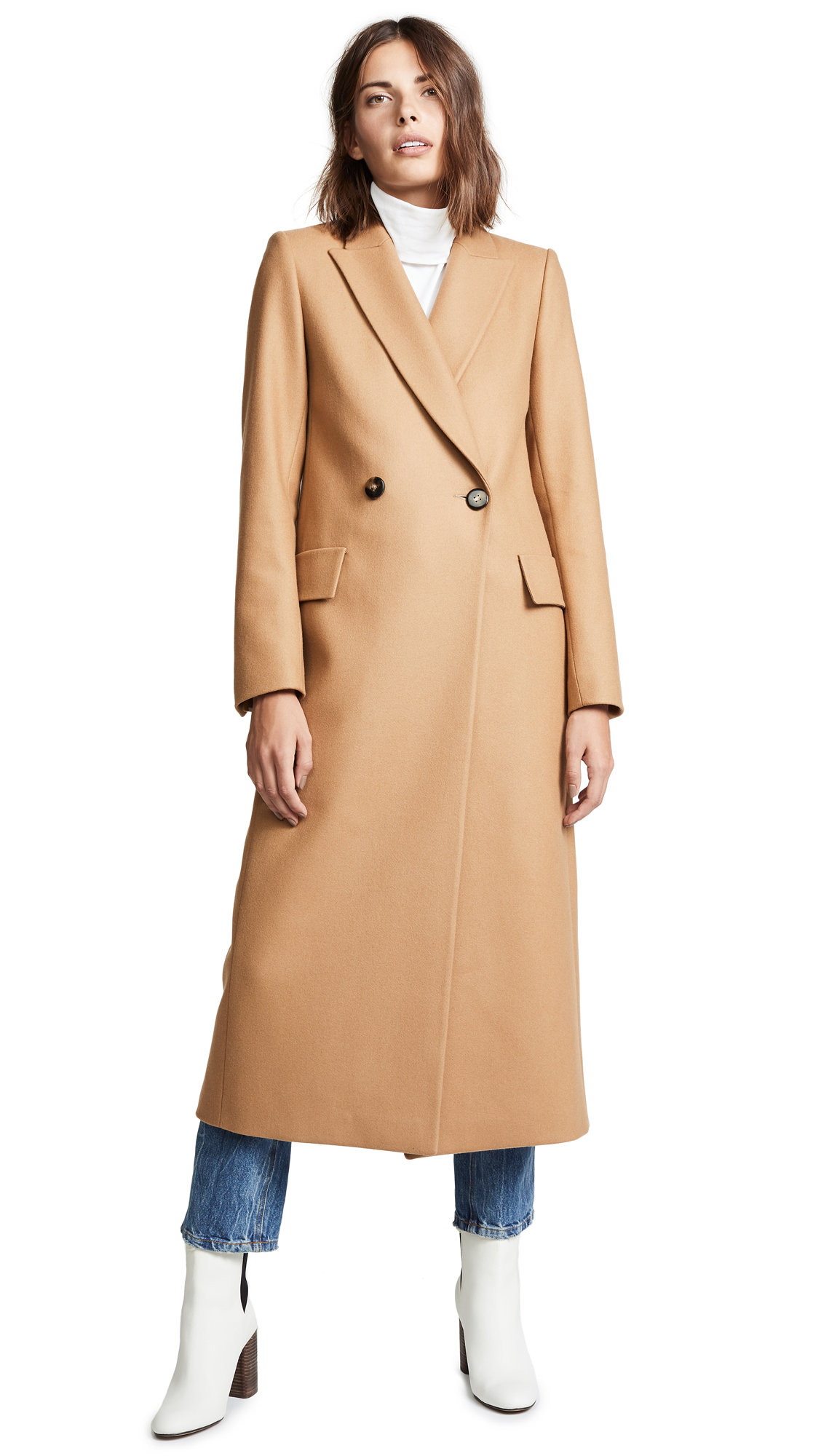 Pallas Dakota Double Breasted Coat In Camel