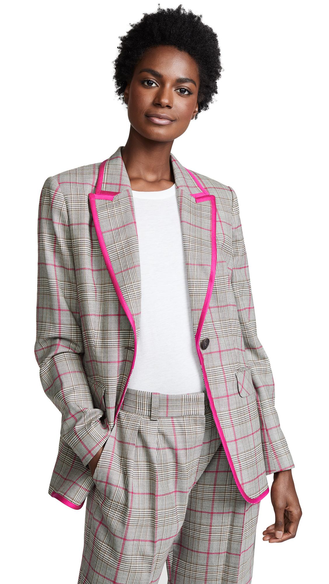 PALLAS Delacroix Contrast Trim Blazer in Pink Plaid
