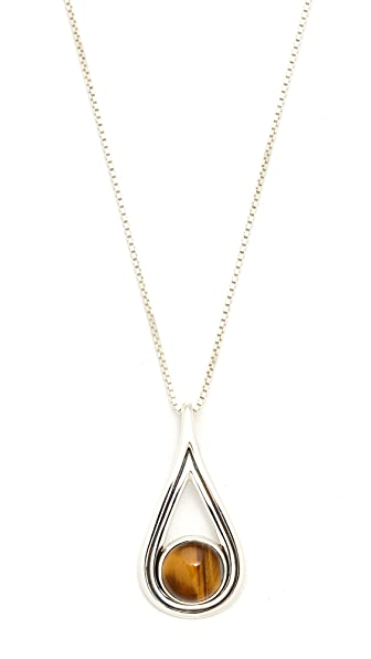 Pamela Love Rhea Pendant Necklace - Silver/Tigers Eye