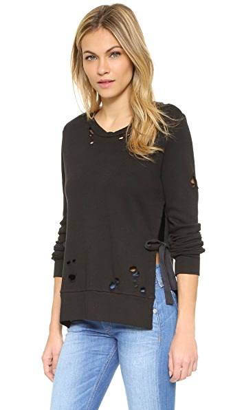 Pam & Gela Side Slit Destroyed Sweatshirt
