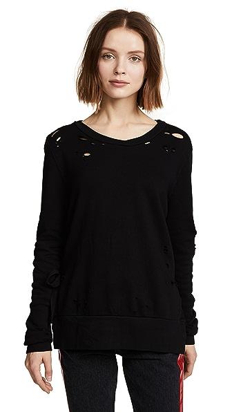 Pam & Gela Side Slit Destroyed Sweatshirt In Black