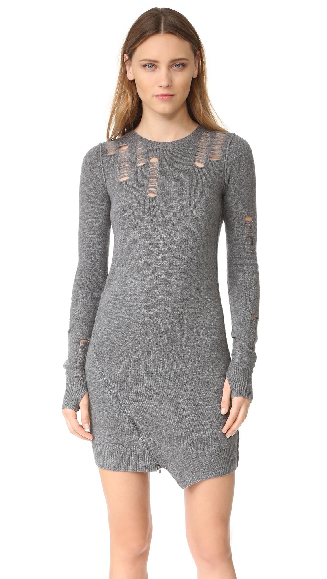 pam gela female pam gela shredded dress heather grey
