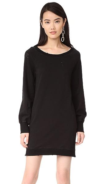 Pam & Gela Destroyed Off Shoulder Dress In Black