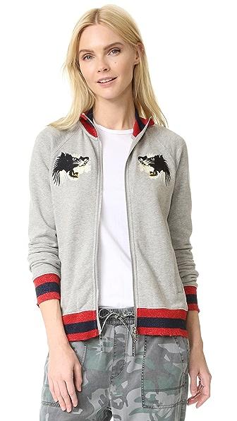 Pam & Gela Embroidered Bomber Jacket - Heather Grey