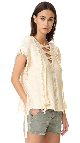 Pam & Gela Fringe Baja Sweater - Cream
