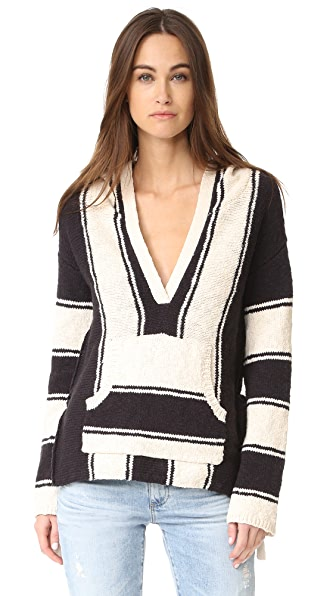 Pam & Gela Striped Baja Sweater
