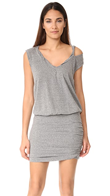 Pam & Gela Slash Neck Ruched Dress