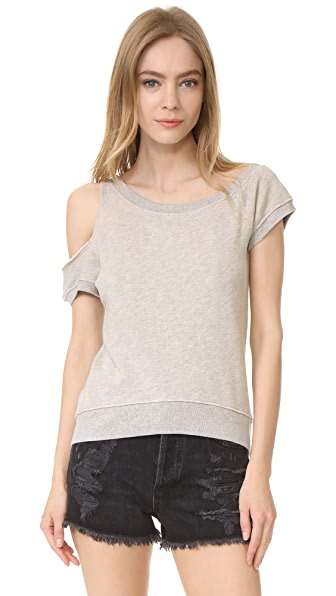 Pam & Gela Cold Shoulder Sweatshirt - Heather Grey