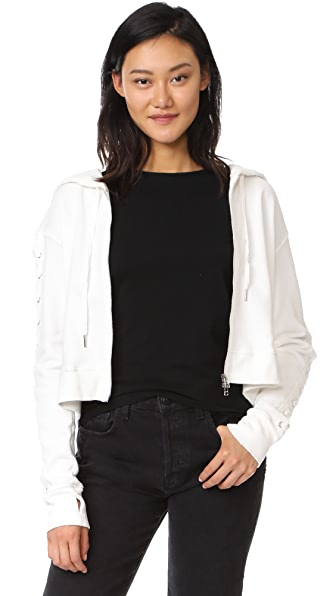 Pam & Gela Lace Up Sweatshirt In White