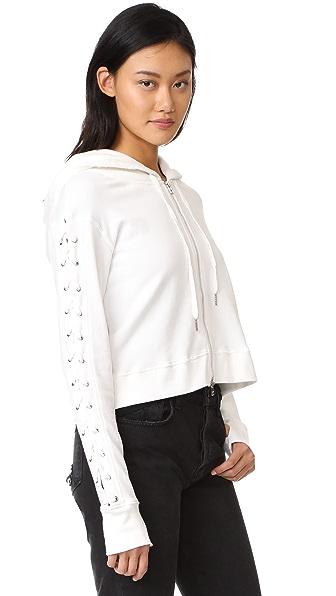 Pam & Gela Lace Up Sweatshirt - White
