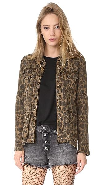 Pam & Gela Lace Front Zipper Jacket In Leopard