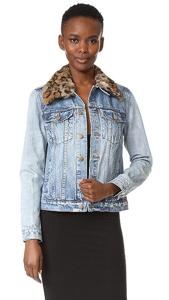 Pam & Gela Denim Jacket with Detachable Fur Collar In Denim