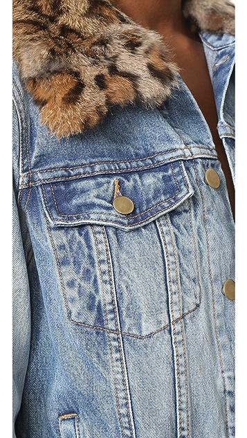 Pam & Gela Denim Jacket with Detachable Fur Collar
