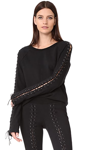 Pam & Gela Laced Sweatshirt In Black