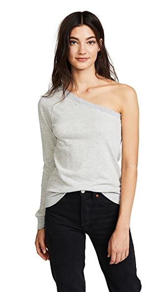 Pam & Gela One Sleeve Sweatshirt In Heather Grey
