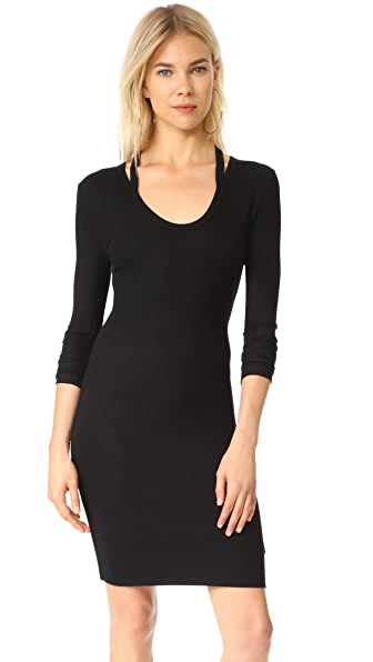 Pam & Gela Split Neck Dress In Black