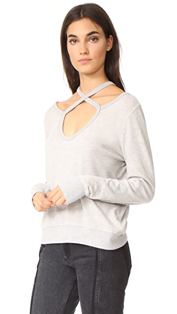 Pam & Gela Rib Cross Neck Sweatshirt